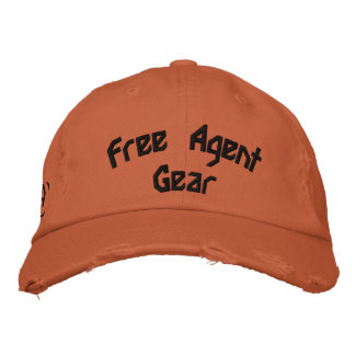 FREE $ AGENT GEAR,orange,distressed,hat Embroidered Baseball Caps