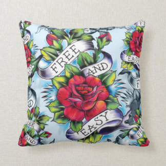 Free and Easy Americana Tattoo Rose pillow. Cushion