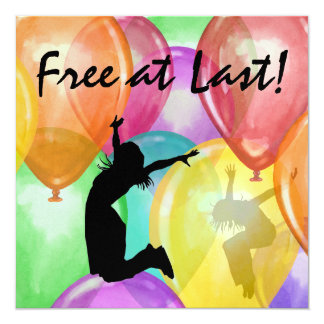 "Free At Last by SRF 5.25"" Square Invitation Card"