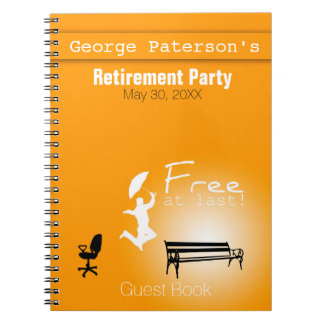 Free at Last! Retirement Party Guest Book Note Books