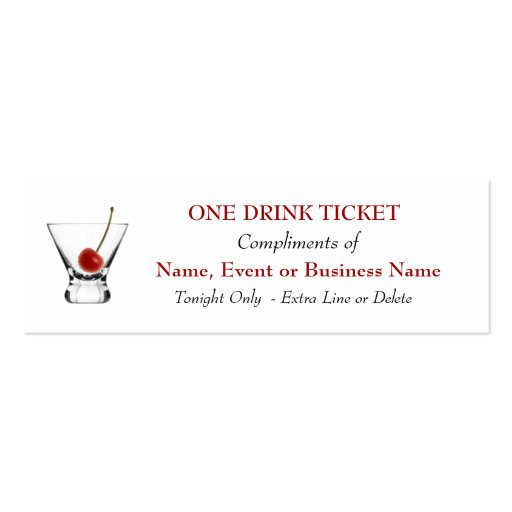 Free Complimentary Drink Ticket Bar Special Events Business Card
