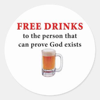 Free Drinks Round Sticker