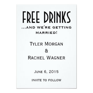 """Free Drinks"" Save the Dates 13 Cm X 18 Cm Invitation Card"
