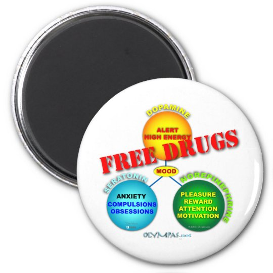 Free Drugs in the Brain 6 Cm Round Magnet