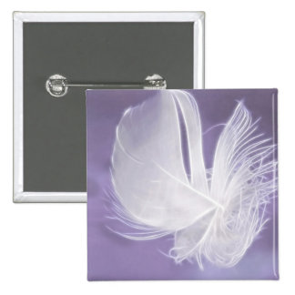 Free Falling feather on purple background Button