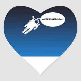 Free Floating Astronaut in Space Heart Sticker