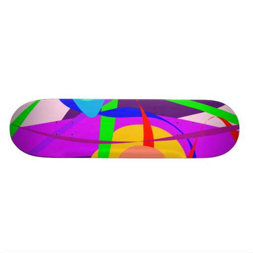 Free Forms and Lines Pink Purple Abstract Painting Skate Boards