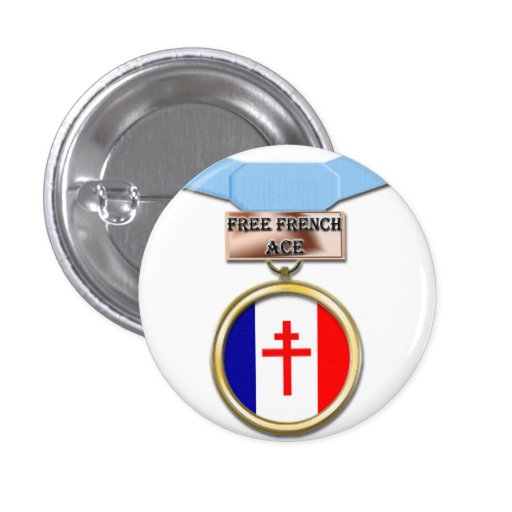 Free French Ace medal button