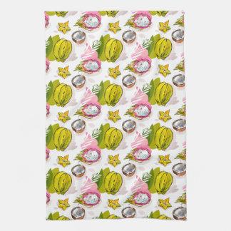 Free Hand Textured Fruit Pattern Tea Towel