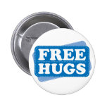 Free Hugs - Blue Pinback Buttons
