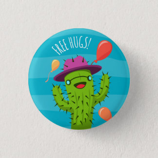 Free Hugs Cactus Illustration - Funny Badge