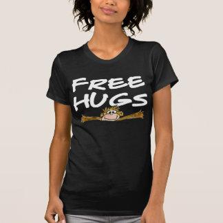 Free Hugs Cartoon Monkey White Text Dark T Shirt