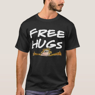Free Hugs Cartoon Monkey White Text  T Shirt