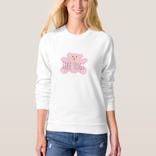 Free Hugs Cute Little Pink Teddy Bear Sweatshirt