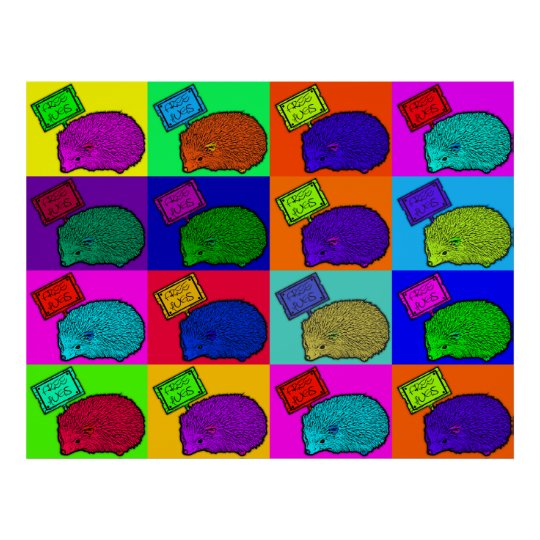 Free Hugs Hedgehog Colourful Pop Art Popart Poster