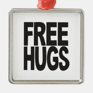 FREE HUGS Silver-Colored SQUARE DECORATION