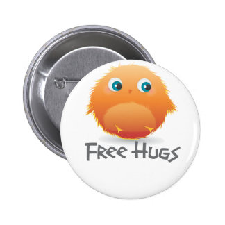 Free hugs small furry creature 6 cm round badge