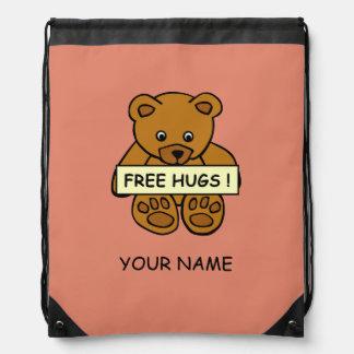 Free Hugs Teddy custom color bag Drawstring Backpack