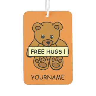 Free Hugs Teddy custom name & color air freshner Car Air Freshener