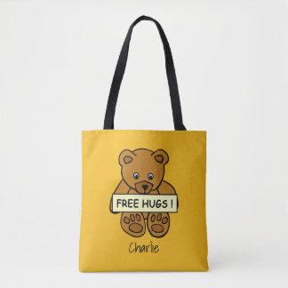 Free Hugs Teddy custom name & color bags Tote Bag