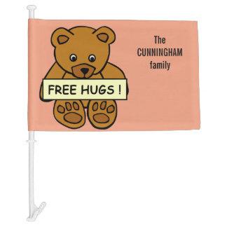 Free Hugs Teddy custom name & color car flag