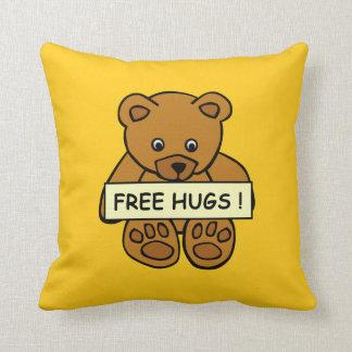 Free Hugs Teddy custom throw pillow