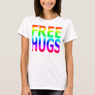 FREE HUGS Women's Rainbow Fitted T T-Shirt
