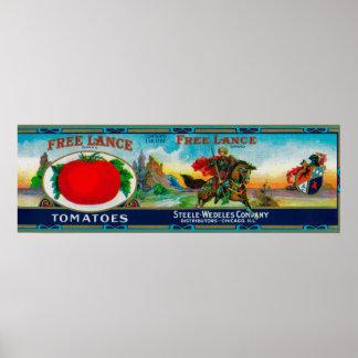 Free Lance Tomato LabelChicago, IL Poster