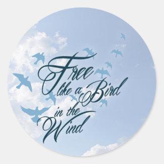Free like a Bird in the Wind Round Sticker
