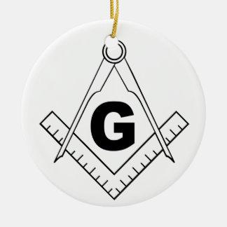 Free Masonry Symbol Round Ceramic Decoration
