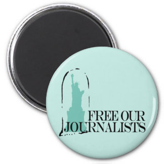 Free our journalists 6 cm round magnet