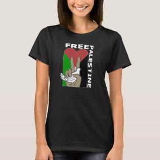 Free Palestine Dove Heart Peace Sign dark tshirt