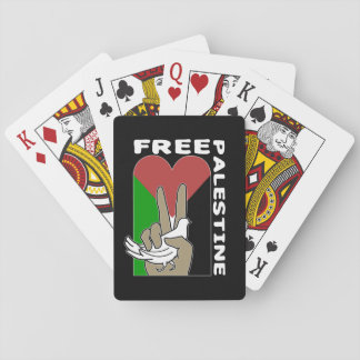 Free Palestine Dove Heart Peace Sign Poker Deck