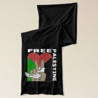 Free Palestine Dove Heart Peace Sign Scarf