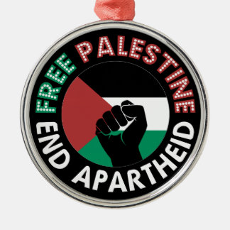 Free Palestine End Apartheid Flag Fist Black Silver-Colored Round Decoration