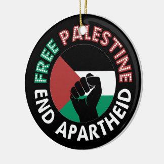 Free Palestine End Apartheid Flag Fist Black Round Ceramic Decoration