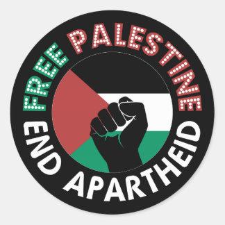 Free Palestine End Apartheid Flag Fist Black Sticker