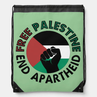 Free Palestine End Apartheid Palestine Flag Drawstring Bag
