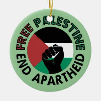 Free Palestine End Apartheid Palestine Flag Round Ceramic Decoration