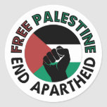 Free Palestine End Apartheid Palestine Flag Round Sticker