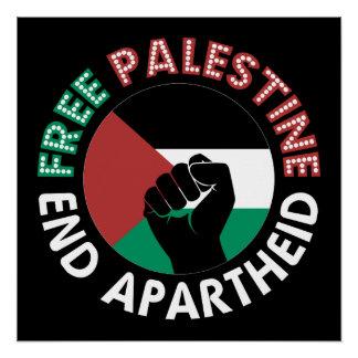 Free Palestine End Apartheid Raised Fist