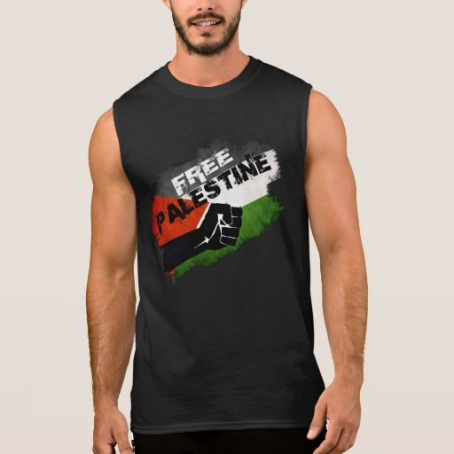 Free Palestine Grunge Flag Sleeveless Shirts