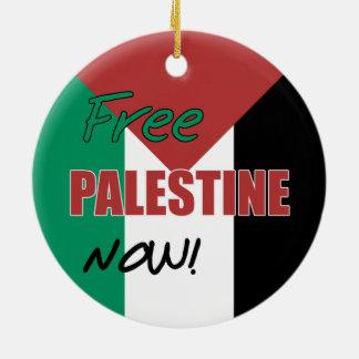 Free Palestine Now Palestinian Flag Round Ceramic Decoration