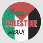 Free Palestine Now Palestinian Flag Round Sticker