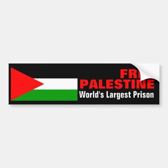 FREE PALESTINE WORLD'S LARGEST PRISON bumperstikr Bumper