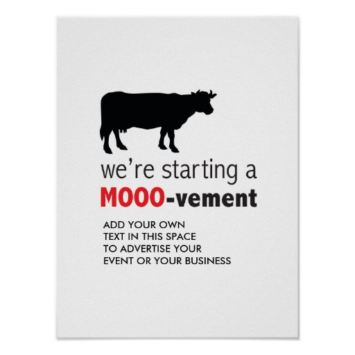 Free Range Dairy Farm Cow Lover Movement Poster