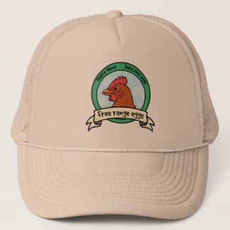 Free range eggs happy hen logo trucker hat