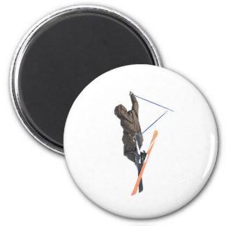 free ride ski jumper 6 cm round magnet