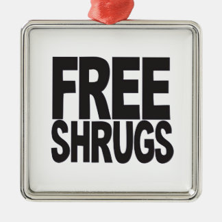 Free Shrugs Silver-Colored Square Decoration