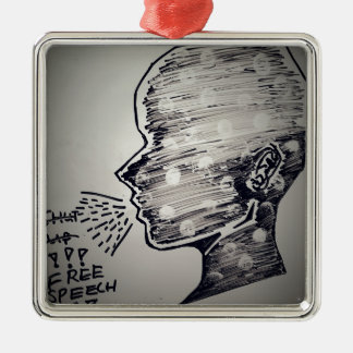 Free Speech Silver-Colored Square Decoration